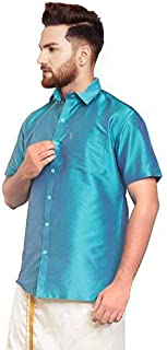 SJS-Men's Half Sleeve Solid Art Silk Shirt (Light Sky Blue, 36)
