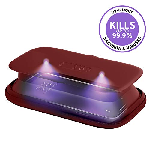 HoMedics UV-Clean Phone Sanitizer | Faster Than Any UV Sanitizer On The Market | Kills Up to 99.9% of Bacteria & Viruses at The DNA Level | Mercury and Chemical Free (Red)