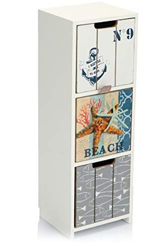 com-four® Mini-Kommode mit 3 Schubladen - Holz-Schränkchen mit maritimem Design - Mini-Schrank zur Aufbewahrung von Schmuck, Kosmetik und Kleinkram (1 Stück - 12x10x33-3 Schubladen)