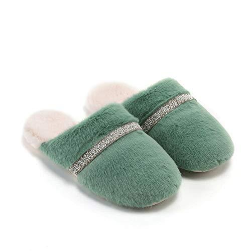 Suela de goma tacón de madera superior de piel sin Zapatillas de felpa linda del invierno mujeres planas calientes forrado de algodón zapatillas no del resbalón Durable zapatos de la casa del deslizad