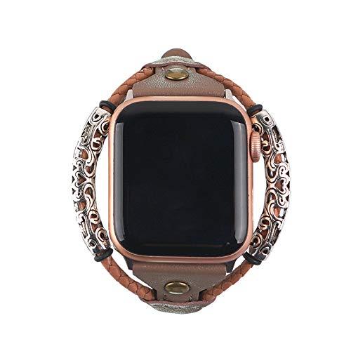 Compatibel met Apple Watch strap 38mm / 40mm / 42mm / 44mm nationale stijl lederen riem, gevlochten riem compatibel met iWatch serie 5/4/3/2/1, verwisselbare polsband Hoge kwaliteit