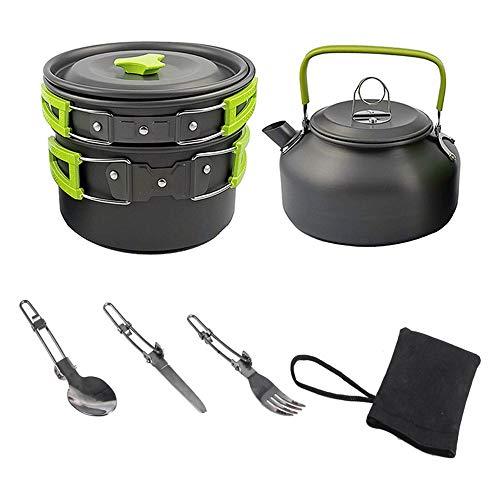 Kit de utensilios de cocina para acampar al aire libre, juego de cocina de aluminio, hervidor, olla, senderismo, picnic, viaje, barbacoa, vajilla, equipo de cocina