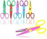 com-four® 6X Bastelschere mit verschiedenen Schnittmustern - Kinderschere für kreatives