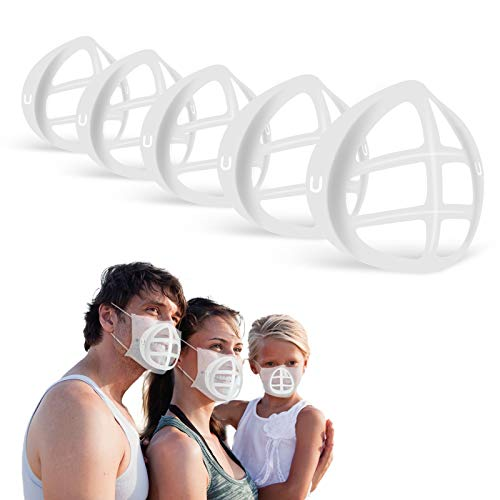 3D Mask Support Frame Silicone Bracket 5 Pcs for Comfortable Wearing Create Breathing Space Lipstick Protection Washable reuse (Clear)