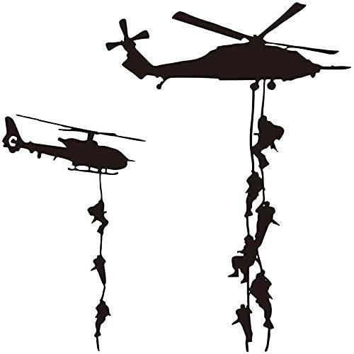 Helicóptero Armado Cable Caída Vinilo Pared Arte Calcomanía Decoración Del Hogar Sala...