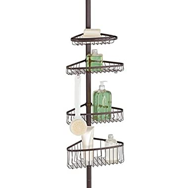 mDesign Bathroom Shower Storage Constant Tension Corner Pole Caddy – Adjustable Height - 4 Positionable Baskets - for Organizing and Containing Hand Soap, Body Wash, Wash Cloths, Razors – Bronze