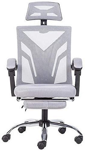Silla de oficina Silla ergonómica para la silla de reposacabezas ajustable, malla y cojín de asiento acolchado, silla de juego, silla de escritorio ajustable de altura giratoria, silla de ordenador ej