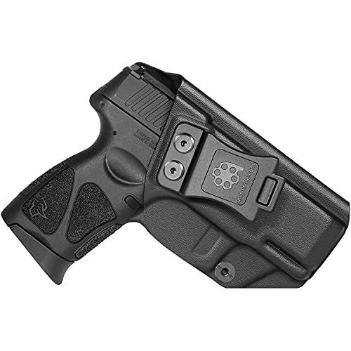 Amberide IWB KYDEX Holster Fit: Taurus G3C / G2C / G2S & Millennium G2 PT111 / PT140 Pistol | Inside Waistband | Adjustable Cant | US KYDEX Made (Black, Left Hand Draw (IWB))