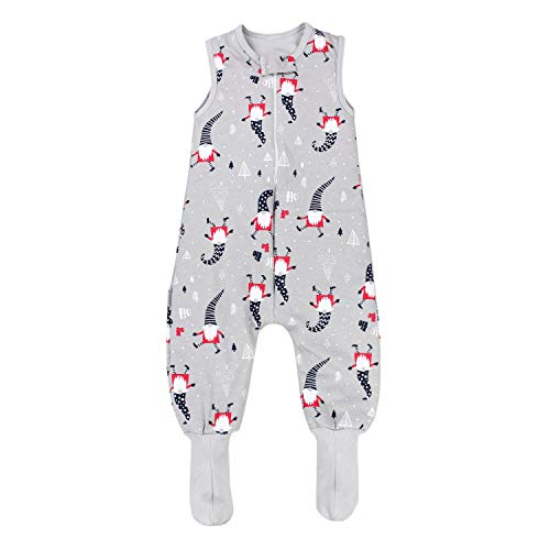 TupTam Saco de Dormir con Pies de Invierno para Bebés, Enanos/Grises, 104-110