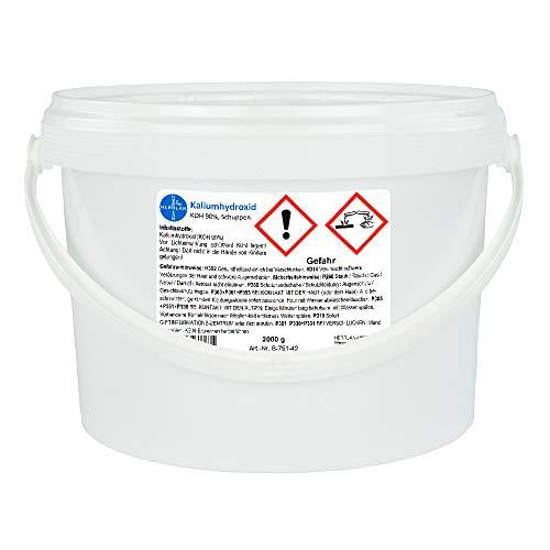 Kaliumhydroxid, Ätzkali >90%, Schuppen, rein I Eimer mit 2 x 1000 g I HERRLAN Qualität I Made in Germany