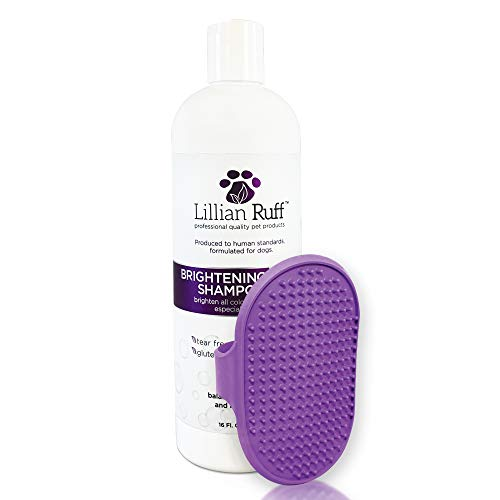 Lillian Ruff Brightening & Whitening Shampoo For Dogs with Dog Bath Brush - Tear Free Coconut Scent With Aloe For Normal, Dry & Sensitive Skin - Adds Shine & Luster to All Color Coats