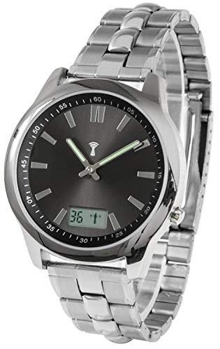 Reloj de pulsera controlado por radio, de acero inoxidable, con fecha y segundos, manecillas luminosas