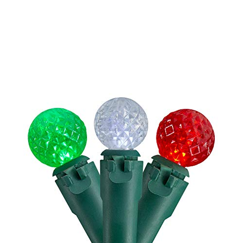 Northlight 50 Count Red, Green and White LED G12 Berry Christmas Lights, 15.9 ft Green Wire