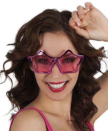 TH-MP Sternbrille Partybrille Unisex Sonnenbrille pink metallic Party Outfit Kostüm Zubehör Accessoire Schlagerstar