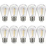 Suncan Bombilla LED E27 S14, estilo Edison vintage, 1 W = 10 W, E27, bombilla de filamento, plástico transparente, blanco cálido 2700 K, ángulo de haz de 360°, no regulable, 10 unidades