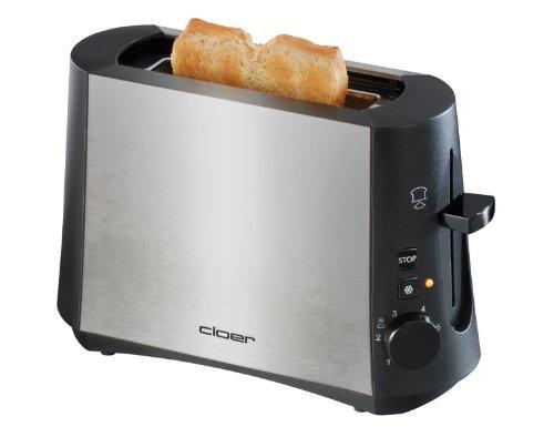 """Cloer 3890 Single-Toaster / Minitoaster für 1 Toastscheibe / 600 W / \""""Auftau-Funktion\"""" / Krümelschublade / Nachhebevorrichtung / mattiertes wärmeisoliertes Edelstahlgehäuse"""