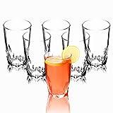 KADAX Trinkgläser, 6er Set, transparente Wassergläser mit verstärktem Boden, dickwandige Saftgläser, geriffelte Gläser, Trinkglas (Hoch, 440ml)