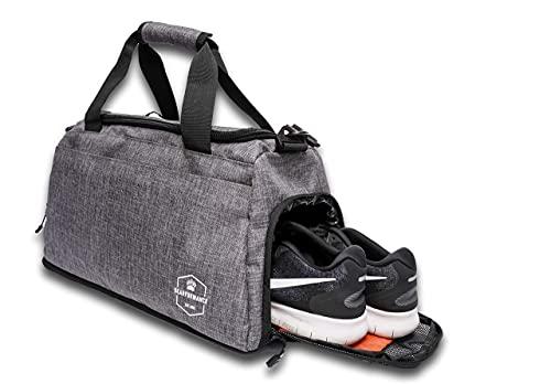Bearformance Sporttasche für Kinder mit Schuhfach & Nassfach mit Rucksackfunktion für Mädchen & Jungen für Sport, Training, Schule   26 L   Grau