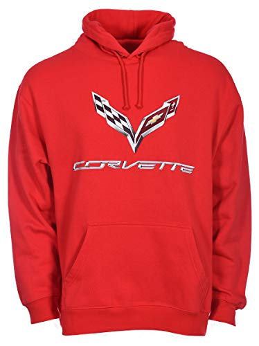 JH DESIGN GROUP Men's Chevy Corvette C7 Pullover Hoodie Black - Heather Gray - Red (Large, Red)