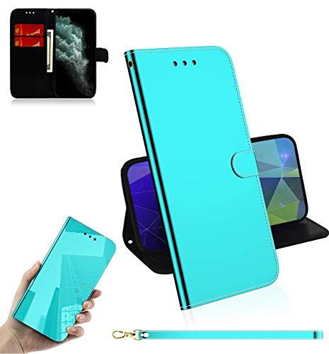 Sunrive Kompatibel mit Huawei P40 Pro Plus/5G Hülle,Magnetisch Schaltfläche Ledertasche Spiegel Schutzhülle Etui Leder Hülle Cover Handyhülle Tasche Schalen Lederhülle MEHRWEG(Grün)
