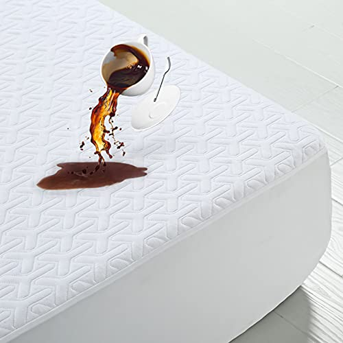 MERITLIFE Premium Waterproof Bamboo Mattress Protector Smooth Noiseless 3D Air Fabric Ultra Soft Breathable Mattress Pad Cover Phthalate & Vinyl-Free