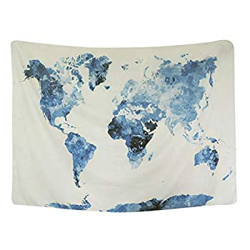 BLEUM CADE Blue Watercolor World Map Tapestry Abstract Splatter Painting Tapestry Wall Hanging Art for Living Room Bedroom Dorm Home Decor 59 X51