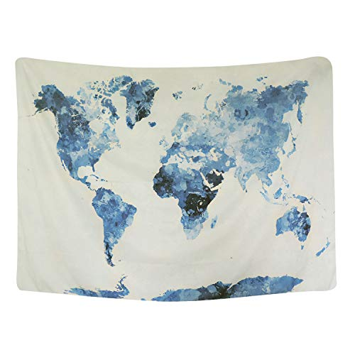 """BLEUM CADE Blue Watercolor World Map Tapestry Abstract Splatter Painting Tapestry Wall Hanging Art for Living Room Bedroom Dorm Home Decor 59""""X51"""""""