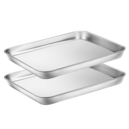 Baking Sheets Set of 2, HKJ Chef Cookie Sheets 2 Pieces & Stainless Steel Baking Pans & Toaster Oven Tray Pans, Rectangle Size 10L x 8W x 1H inch