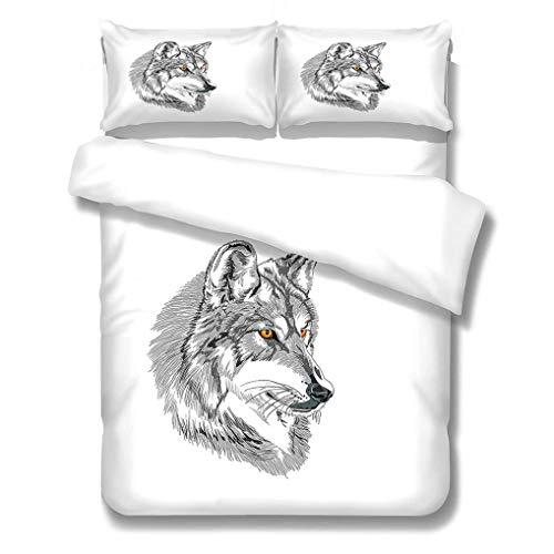 888 3D Tier Bettwäsche Set Weiß Bettbezug Wolf Hund Schmetterling Muster Gedruckte Mikrofaser Bettwäsche Kind Junge Mädchen Teenager Bettbezug Mit Kissenbezug (Stil 4,220x240 cm+80x80 cm*2)