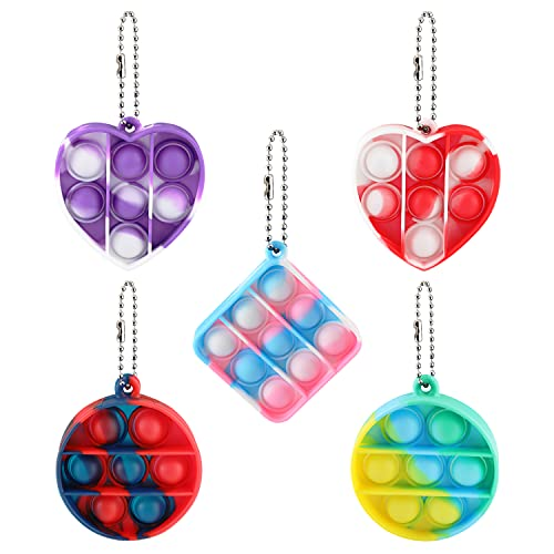 Mini Pop Push Tie Dye Bubble Sensory Fidget Toy Sets Stress Relief Toys, Mini Pop Push Fidget Keychain Pack, Fidget Pack Gifts for Kids and Adult (5 Pack)