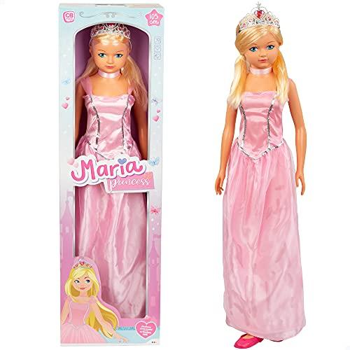 Muñeca Grande, Altura 105 cm, Muñeca Princesa, Juguetes niños y niñas 3 años, Muñecas para peinar, Muñecas articuladas, Princesas de Juguete, Zapatos niña Princesa, Corona niña Princesa