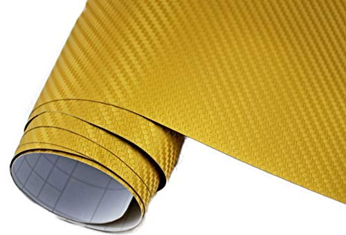 Neoxxim 5€/m2 Auto Folie Carbon Folie 3D Carbonfolie Gold - 30 x 150 cm blasenfrei Klebefolie Dekor