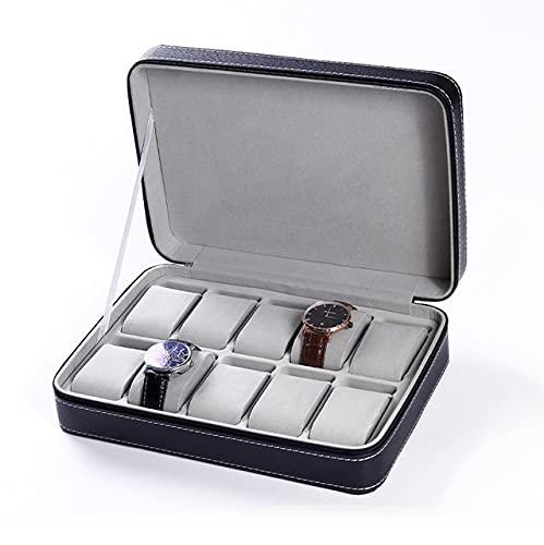 BICCQ Caja de Reloj 6/8/10/12 Grids Watch Box Reloj de Cuero Holder Holder Organizador Caja de Almacenamiento para Anillos Relojes Cajas de joyería Mostrar Cajas de Regalo Caja de Reloj