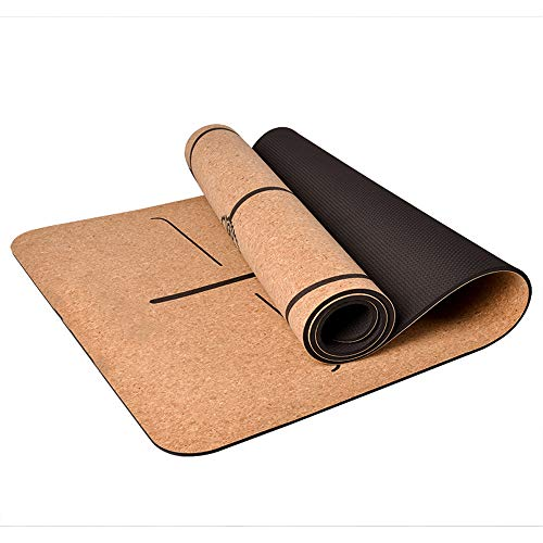 Kurk yogamat, anti-kreuk 6 mm verdikkende en verzwarende trainingsmat, antislip en smaakloos, scheurweerstand, nat en droog antislip, voor pilates, fitness, meditatie