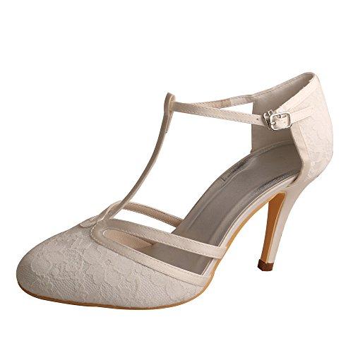 Wedopus MG3011 Damen Pumps High Heel Mandel Zehen Knöchel T-Strap Spitze Hochzeit Schuhe für Braut, - elfenbeinfarben - Größe: 37 EU