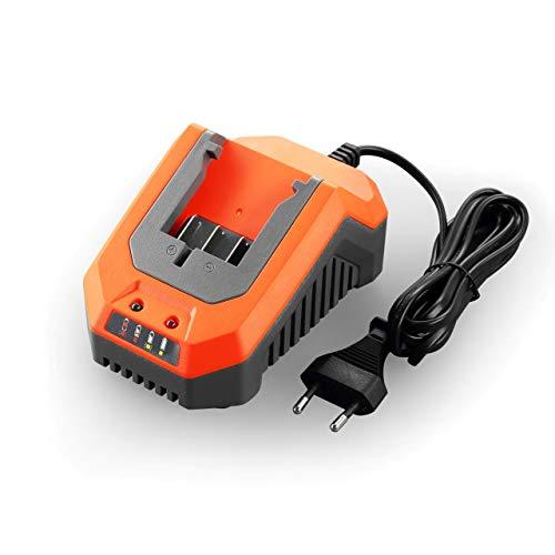 Fuxtec Li-Ion Schnell-Ladegerät 2,4A 70W FX-E1LG2A – für 2Ah & 4Ah Batterie passend 20 Volt Gartengeräte – Ladespannung 20.9V