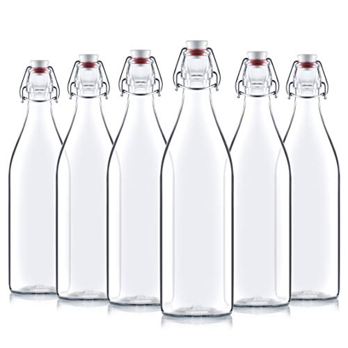 Bormioli Rocco Giara Clear Glass Bottle With Stopper [Set of 4] Swing Top Bottles Great for Beverages, Oil, Vinegar | 33 ¾ oz