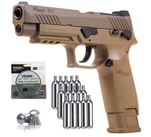SIG Sauer M17 Air Pistol with CO2 12 Gram (15 Pack) and 500 Lead Pellets Bundle
