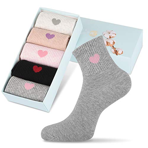 Corlap 5 Pairs Womens Ankle Funny Socks Cozy Cute Embroidery Patterned Fun Socks Novelty Heart Socks with Box for Women Gifts (A, 5-10)