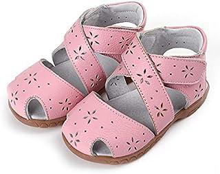 Girls Pink 'Wrap Around' Leather Sandal