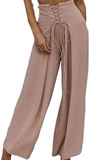 Worclub Womens Casual hoch taillierte Hosen Plain Wide Leg Hosen