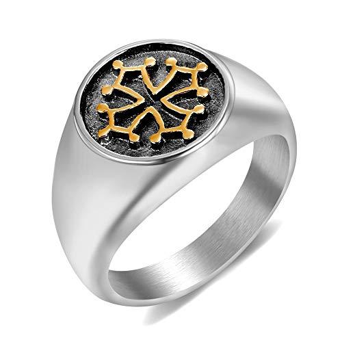 BOBIJOO JEWELRY - Siegelring Ring das Okzitanische Kreuz des Languedoc, Toulouse Occitanie Stahl Gold - 17,8 (7 US), Vergoldet - Edelstahl 316