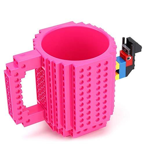 Tasse Geschenk Kaffeebecher 350Ml Kreative Milchbecher Kaffeetasse Kreative Backsteinbecher Trinkwasserbehälter Für Lego Bausteine, Rose Red
