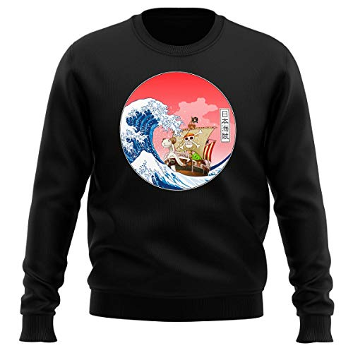 Pull Noir Parodie One Piece - La Grande Vague de Kanagawa et Le Vogue Merry - Pirates en mer du Japon. : (Sweatshirt de qualité Premium de Taille M - imprimé en France)