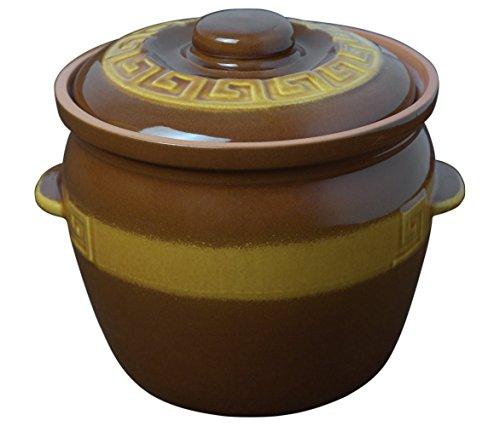 K&K Keramik Kartoffeltopf / Zwiebeltopf 7 Liter - braun/gelb glasiert aus Steingut-Keramik