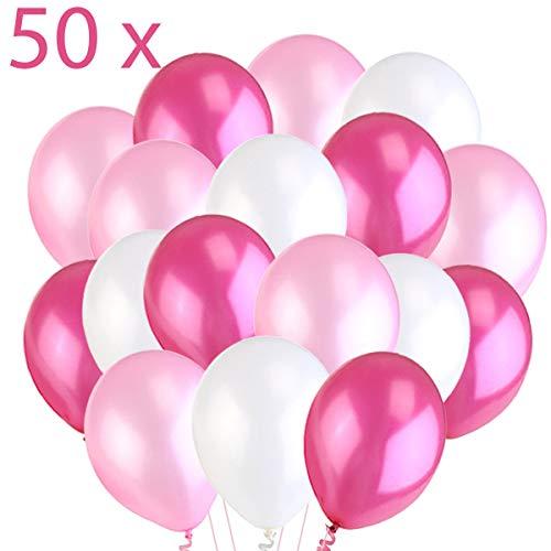 Jonami 50 Luftballons Rosa Weiß Fuchsie Ballon Premiumqualität 36 cm Partyballon Deko Pink 3,2g. Dekoration fur Geburtstag , Baby Shower, Baby Dusche Party