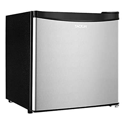 Compact Refrigerator, TACKLIFE 1.6 Cu.ft Mini Fridge With Freezer, Energy Star, Single Reversible Door, Super Quiet, for Dorm, Office, RV, Garage, Apartment, Silver-MVSFR161