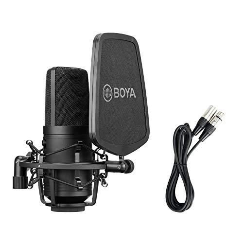 BOYA Micrófono de condensador cardioide de diafragma grande para estudio de grabación de sonido para grabación vocal, cantante podcaster Home Audio YouTube Video