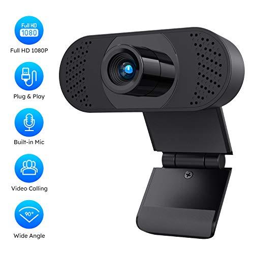 COOAU 1080P HD Webcam mit Mikrofon, Streaming Computer Kamera Plug & Play USB Kamera für Videokonferenzen, Online Arbeit, Home Office, YouTube, Aufnahme und Spiele, Schwarz
