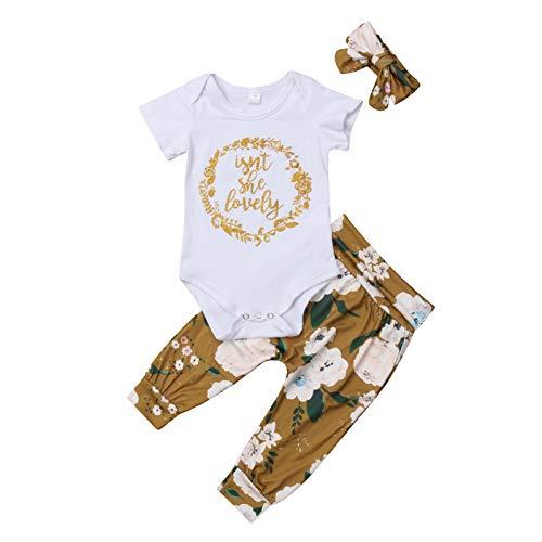YQYJA Conjunto de ropa para bebé recién nacido, de manga corta, pantalones florales, diadema, ropa